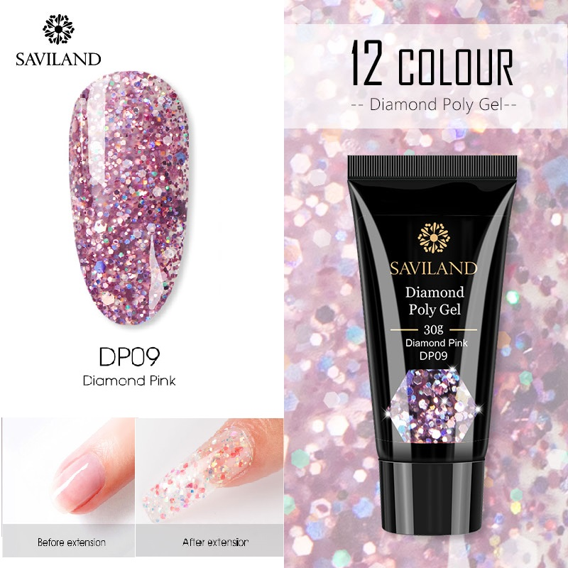 SAVILAND Glitter Ploy Gel Nail Extension Repair Nails Diamond Gel Polish Acrylic Tips Builder Gel Poly Gel Slip Solution Tools