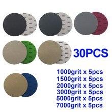 30pcs 5 Inch 125mm Hook&Loop Wet/Dry 1000 1500 2000 3000 5000 7000 Sanding Discs