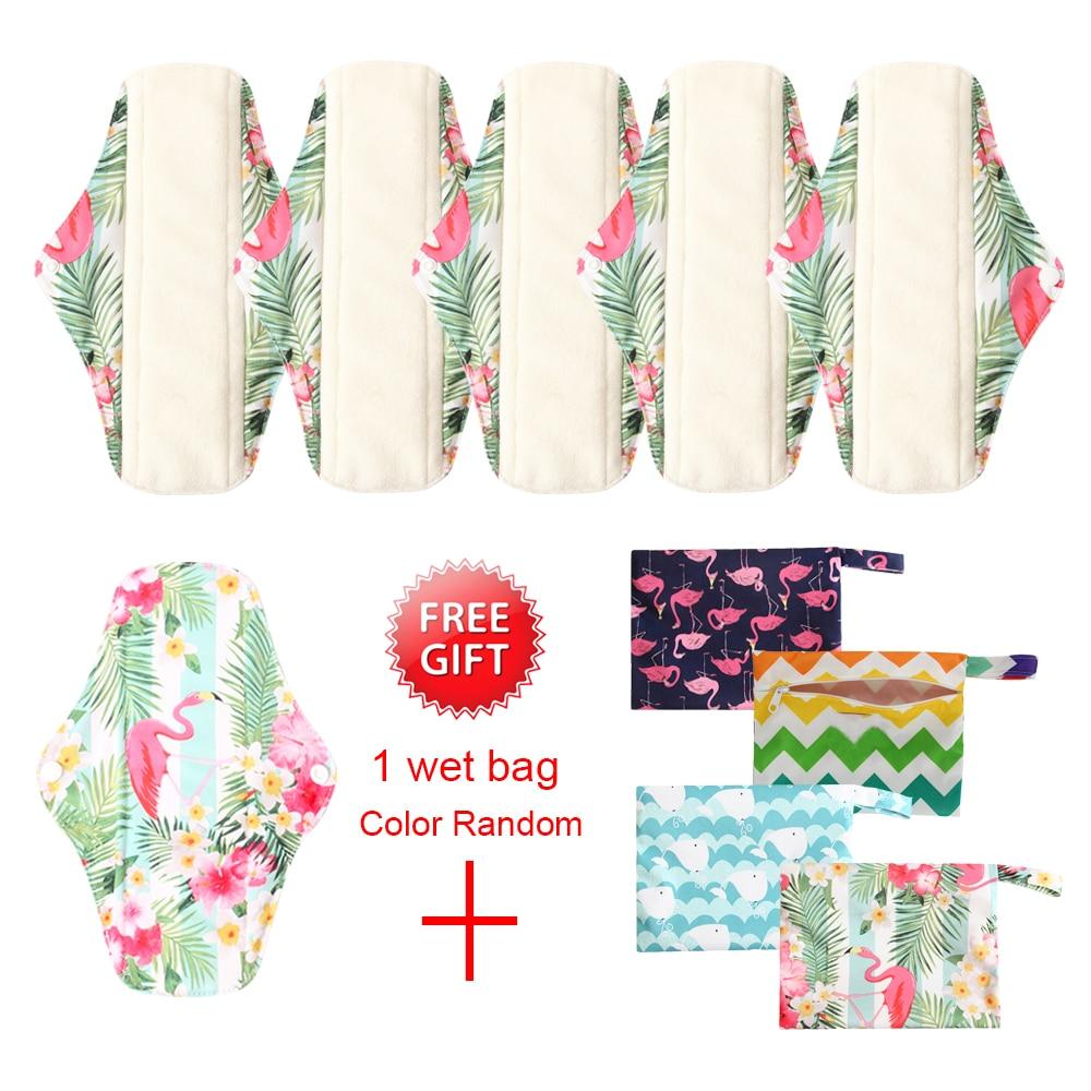 6+1Sets Reusable Bamboo Charcoal Sanitary Pads Washable Organic Pads Health Feminine Hygiene Menstrual Cloth Pads 25*7cm