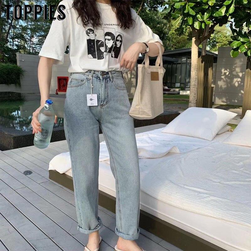2020 Jeans Women High Waist Mom Jeans Korean Fashion Loose Denim Pants Vintage Streetwear