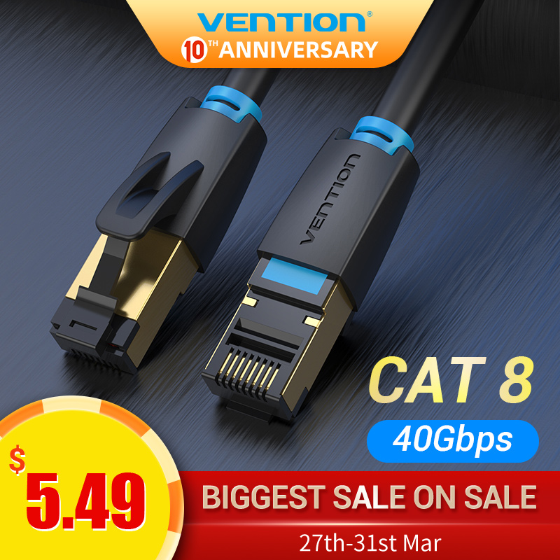 Vention Cat8 Ethernet Cable SSTP 40Gbps Super Speed RJ45 Network Cable Gold Plated Connector For Router Modem CAT 8 Lan Cable