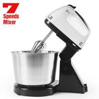 Mezclador de mesa eléctrico de acero inoxidable para alimentos, mezclador de crema de escritorio para cocina, mesa de 7 velocidades, mezclador de masa para pasteles, batidor de huevos