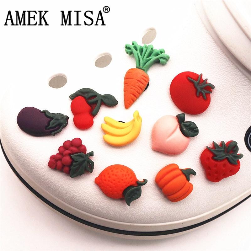 Emulation Fruits&Vegetables Shoe Charms Spoof Mini Resin Garden Shoe Decoration Accessories Fit Croc Jibz Kid's Party X-mas Gift