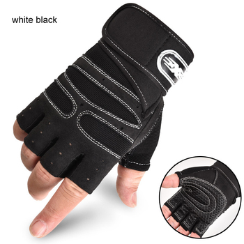 Men Fitness Heavyweight Training Gloves Bodybuilding Half Finger Gloves Non-Slip Extended Wrist Support Weightlifting Sports 5