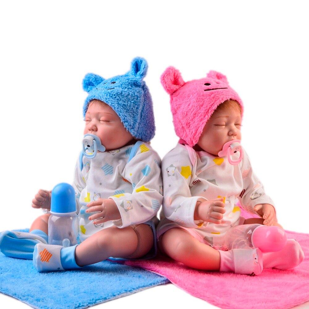 55 cm Silicone souple Reborn bébé poupée avec corps en coton Bebe Reborn poupée réel yeux fermés jumeaux jouet pour enfants cadeau de noël