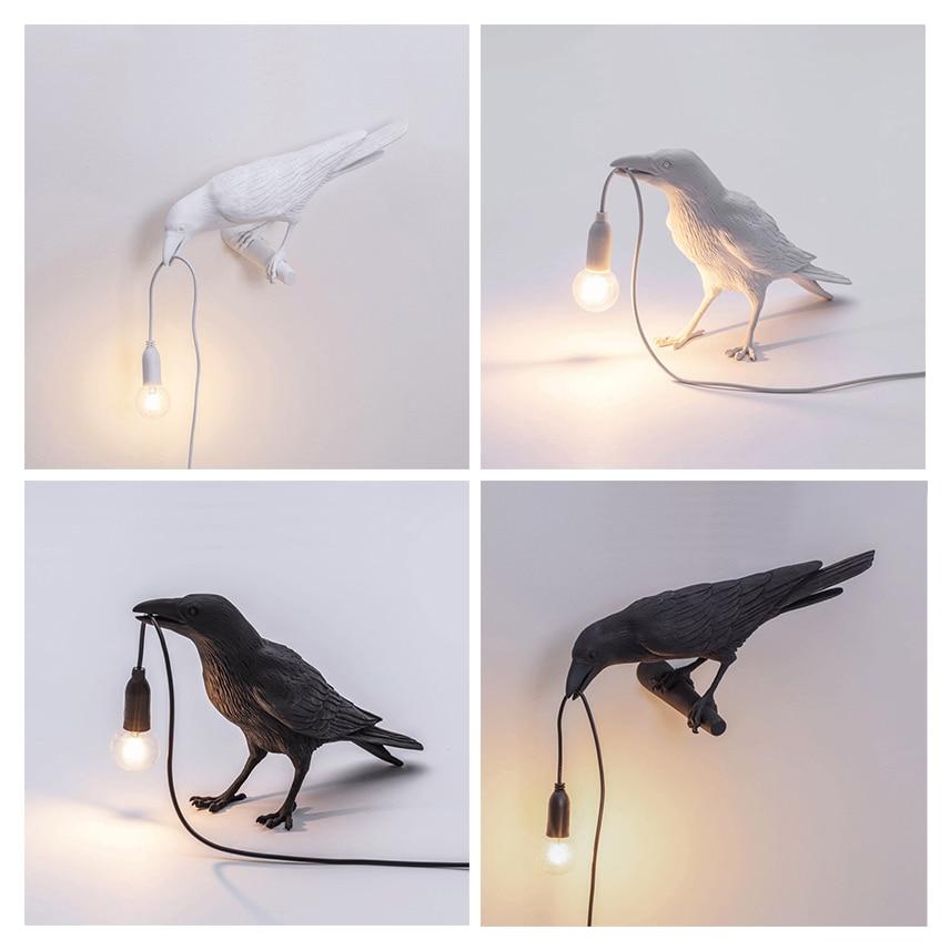 Nordic Designer LED Little Bird Led Table Lamps Modern Resin Crow Desk Lamp For Study Bedroom Home Decor Art Light Fixtures
