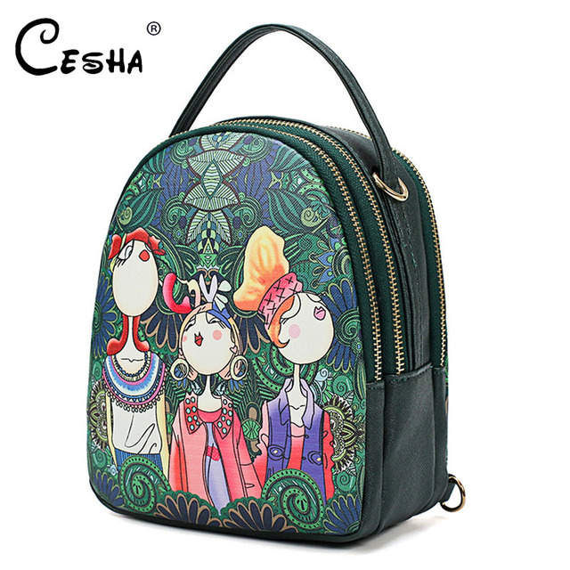 Fashion Cartoon Printing Women Handbag High Quality PU Leather Shoulder Bag Ladies 3 Deck Cartoon Pattern Back Pack For Teenager