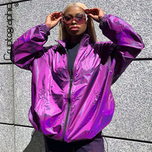 Cryptographic 2019 Autumn Winter Purple Coats and Jackets Women Drawstring Zipper Fashion Harajuku Jacket Streetwear Oversized цена и фото