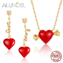 ALLNOEL Real 925 Sterling Silver 9K Gold Red coral Heart Love Pendant Necklace Earrings Jewelry sets For Women Fine Jewelry NEW