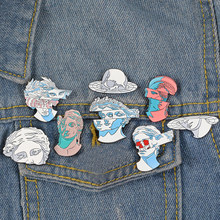 fashion Blue Flower Hair Statue Enamel pin Classic Cartoon brooches Lapel pins for women girl men Badge Pins up Jewelry gift(China)