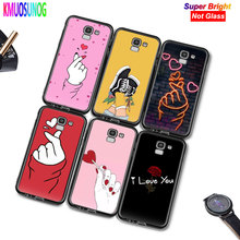 Black Silicone Cover Love on the finger kpop heart for Samsung Galaxy j2 j4 j6 Core Plus j3 j5 j7 j8 2018 2017 2016 Phone Case аксессуар чехол with love moscow samsung galaxy j7 2017 кожаный black 10207