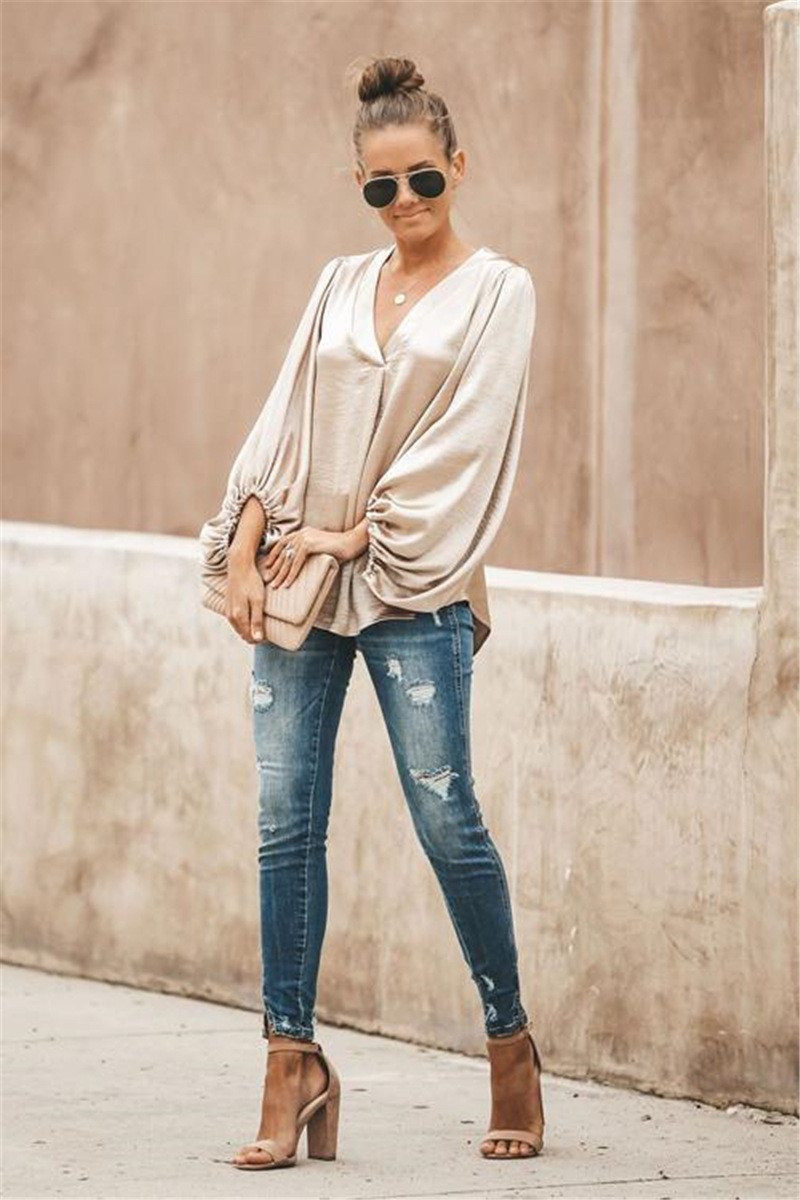 Women Shirts Office Lady Blouses Sexy V-Neck Low Cut Lantern Sleeve Elegant Smooth Silk Satins Tops Streetwear Outfits