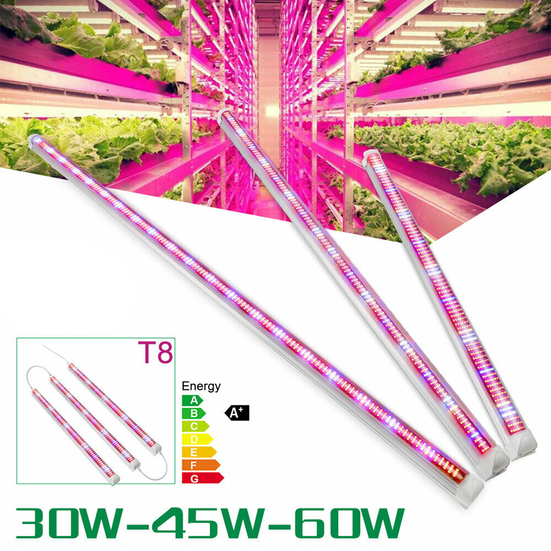 3Pcs LED Grow Light T8 Tube Full Spectrum LED Grow Lamp Bar Led Strip For Indoor Hydroponics Aquarium Vegs 45W 90cm 60W 120cm