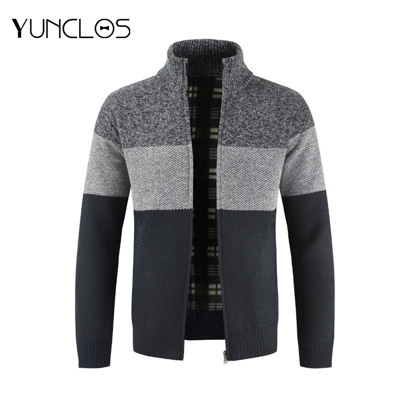 Men's Stand Collar Sweater Warm Color Block Sweater Cardigan Warm Heart On Spring Or Fall Men Zipper Knitted Thick Coat