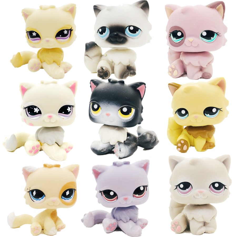 New Cat Doll Toy Black  Pink Cute Round-faced Cat Lovely Petshop Animal Action Figure Small Doll Toys