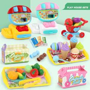 Cash Register Pretend-Play-Toy-Set Simulation Ice-Cream Mini-Mart Kids Children Plastic