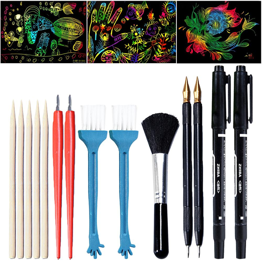 14Pcs Scratch Tools Set With Bamboo Sticks Scraper Repair Scratch Pen Black Brush Painting Toys Kids Children Birthday Gifts