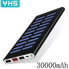 HOT Solar Accumulatori e caricabatterie di riserva 30000mah Batteria Esterna 2 USB LED Powerbank Portatile Caricatore Solare del telefono Mobile per Xiaomi iphone huawie(China)