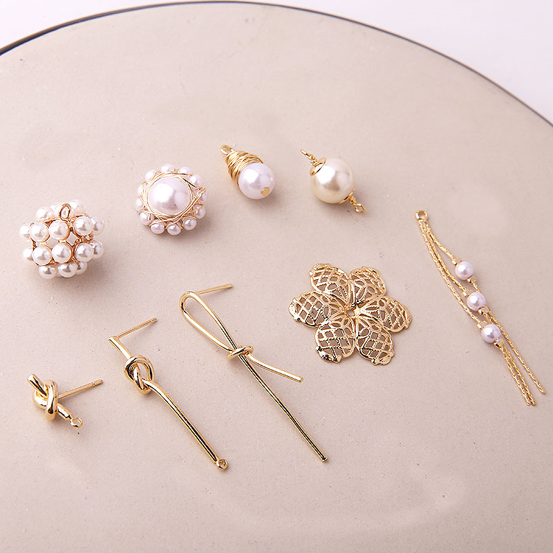 2 pcs new design hot-sales copper baroque pearl irregular stud earrings for woman material diy fashion jewelry accessories