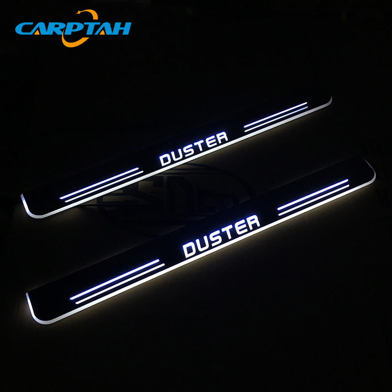 CARPTAH Trim Pedal Car Exterior Parts LED Door Sill Scuff Plate Pathway Dynamic Streamer light For Renault Duster 2015- 2018