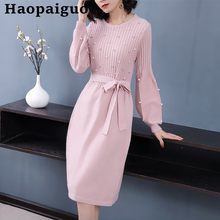 2019 Autumn Winter Solid Knitted Sweater Dress Women Long Lantern Sleeve Corset Black with Sashes Casual Pink