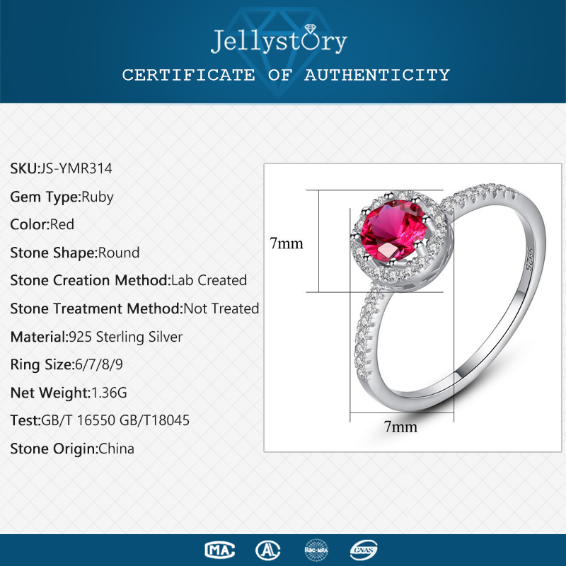 H891cd474c6a8414e9ab75a4049118f52S Jellystory 925 Sterling Silver Ring Creative Ruby Rings for Female Wedding Party Round Red Gemstone Ring Jewellery Gift size 6-9
