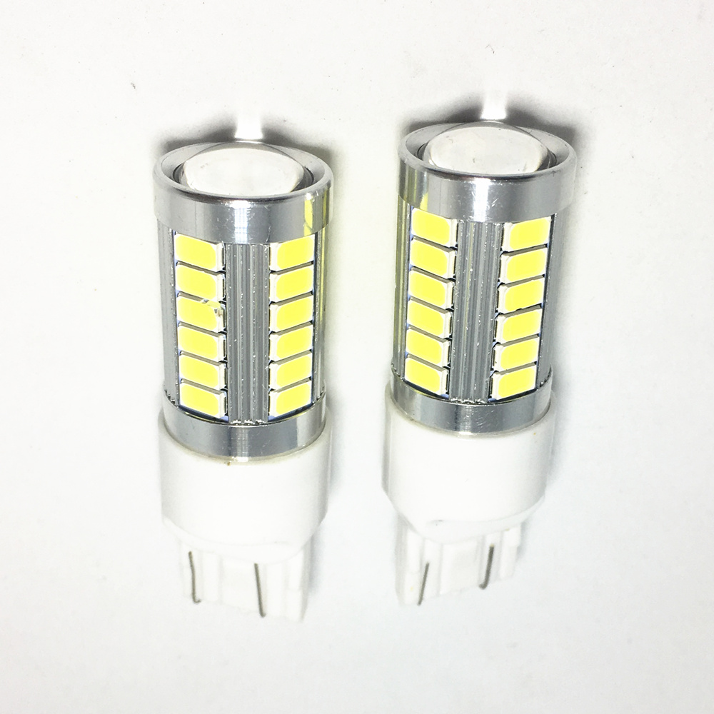 10PCS Car Yellow Red Brake light T20 W21W WY21W 7443 led 33 smd 5730 5630 Amber Turn Signal Bulb White Auto Reverse Lamps 12V