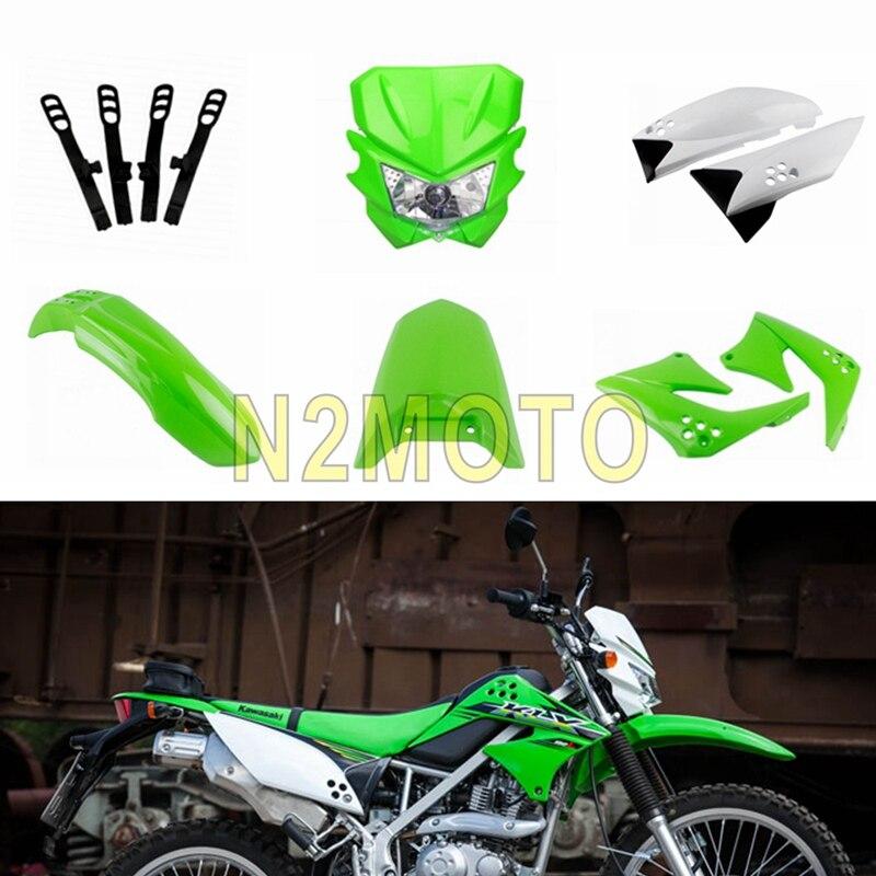 Motocross Dirt Bike Kit de carénage en plastique avant et arrière couvercle latéral garde-boue garde-boue phare masque pour Kawasaki KLX150 vert