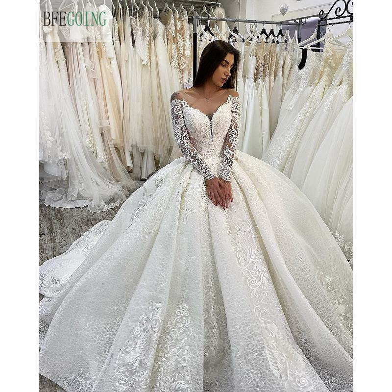 Ivory Lace Tulle  Beading Scoop Long Sleeves Floor-Length Ball Gown Wedding Dress Chapel Train Custom Made