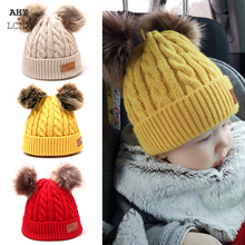 Winter Baby Knitted Hat Warm Pompom Children Beanies Hats Cap For Girls Boys Caps Casual