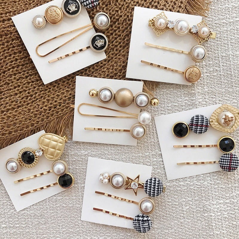 New 3Pcs/Set Pearl Button Crown Metal Women Hair Clip Bobby Pin Barrette Hairpin Hair Accessories Beauty Styling Tools