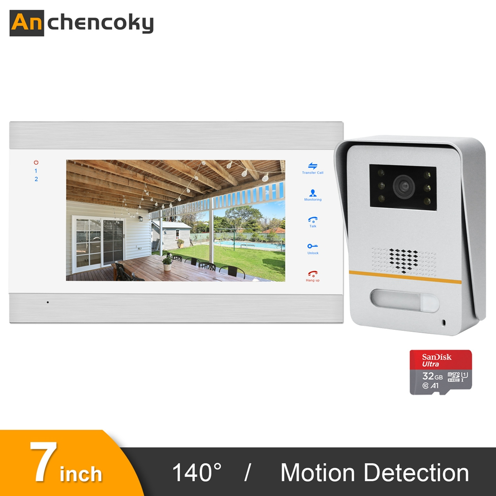 Anchencoky Video Door Phone 7 Inch Video Doorbell With 140° Wide Angle Intercom Panel Support Motion Detection Record And Unlock