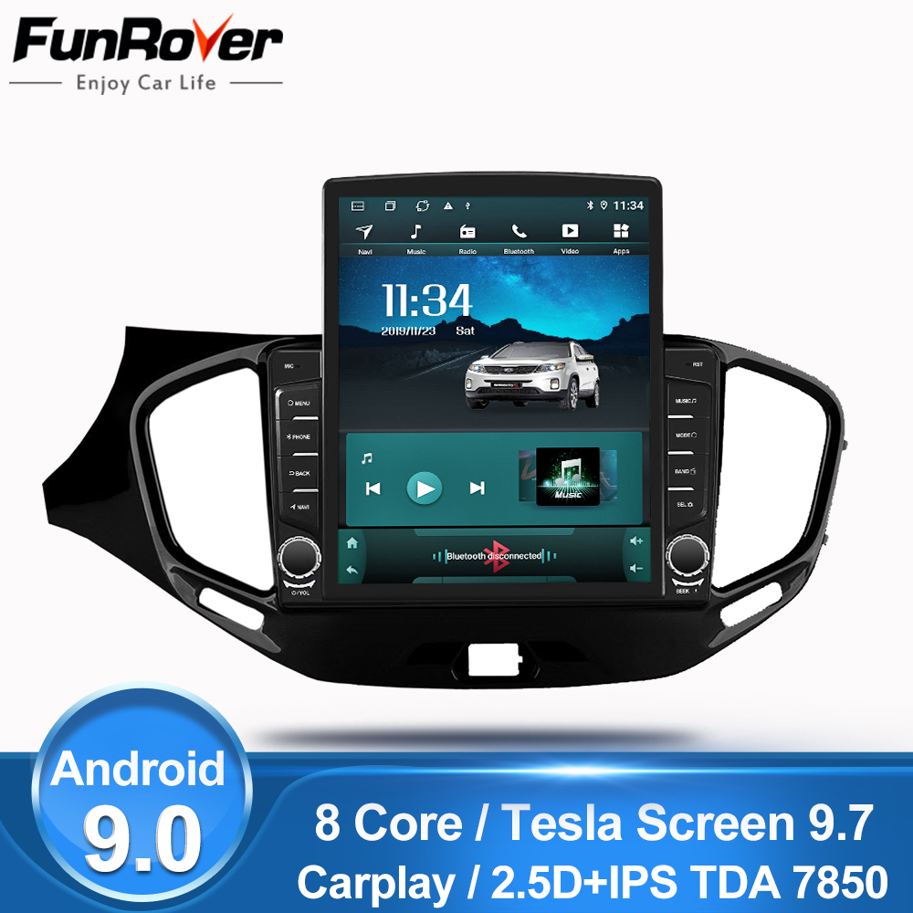 Funrover ips 2.5D 9,7 Tesla экран для LADA Vesta Cross Sport 2015 2019 android9.0 автомобильный Радио мультимедийный плеер gps Navi dsp dvd