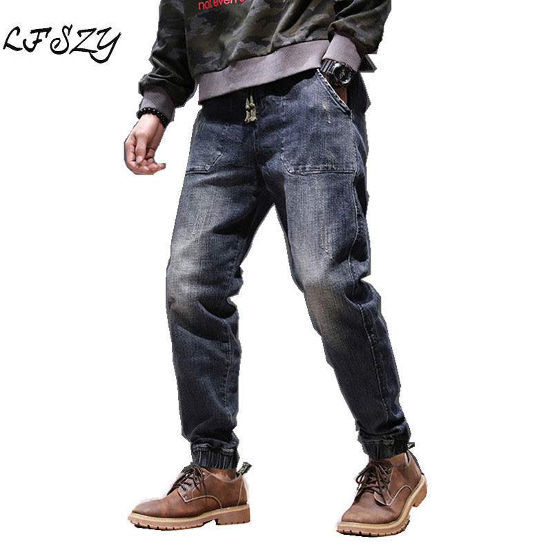 Autumn And Winter New Jeans Men's Youth Elastic Waist Strap Japanese Retro Loose Straight Harem Pants More Size 28-40 42