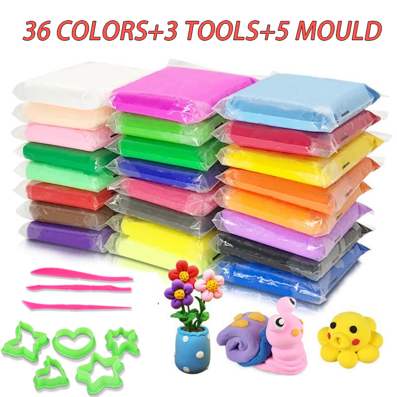 Super Light Air Dry Clay Children DIY Toys Safe Colorful Slaime Non-stick Hands Plasticine With Mould