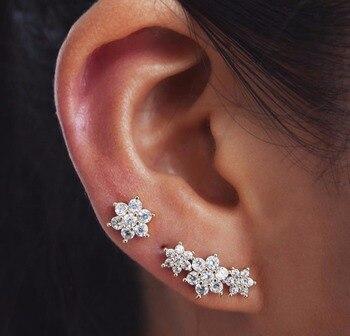 2019 Spring delicate CZ dainty daisy flower stud earrings for women earbone ear jewelry 925 sterling silver minimal lovely stud
