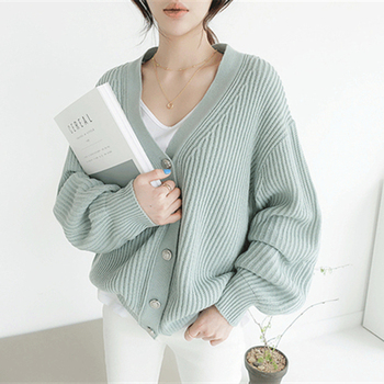 Ailegogo New 2020 Autumn Winter Women's Sweaters V-Neck Buttons Cardigans Casual Fashionable Korean Ladies Knitwears SWC8132 2