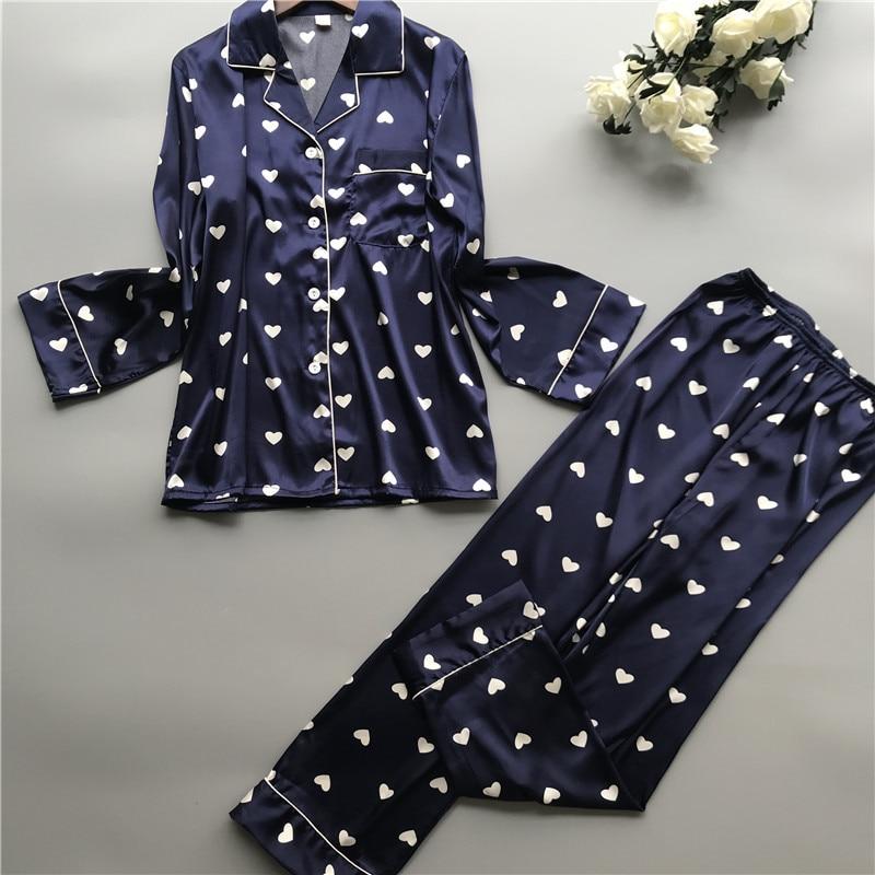 Image 2 - 2019 Satin Pyjamas Women Pajamas Sets with Pants 2019 Flower Print Long Sleeve Silk Sleepwear Pijama Mujer Female NightsuitPajama Sets   -