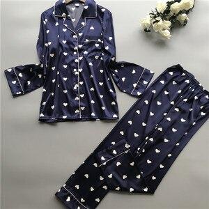 Image 2 - 2019 Satin Pyjamas Women Pajamas Sets with Pants 2019 Flower Print Long Sleeve Silk Sleepwear Pijama Mujer Female Nightsuit