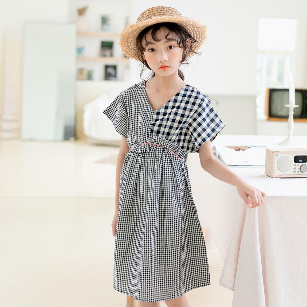 2020 New Cotton Patchwork Girls Dress Kids Plaid Dress For Teen Baby Princess Dress V-neck Loose Children Summer Clothes, #9060