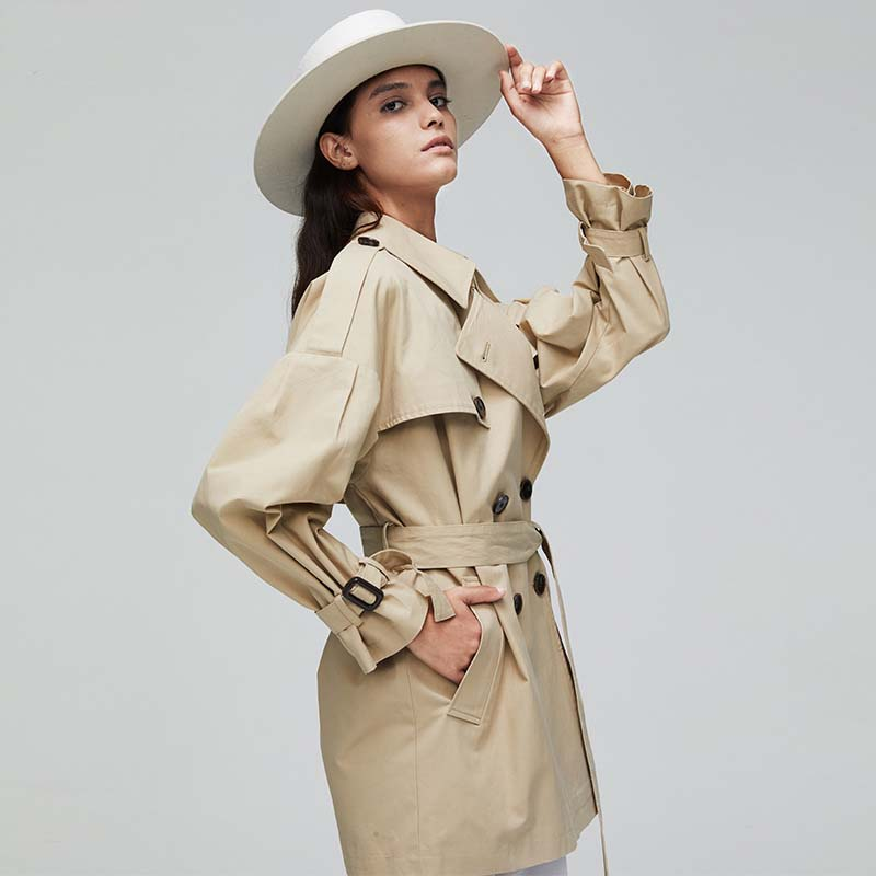 Korean Version Women Trench Female Medium-Length Outerwear Autumn Winter Turn-Down Collar Double-Breasted Belt Female Trench