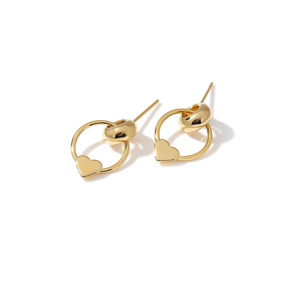 Yhpup brincos de ouro coreano chique cobre redondo coração geométrico brinco moda feminina jóias para amantes presente s925 prata pós
