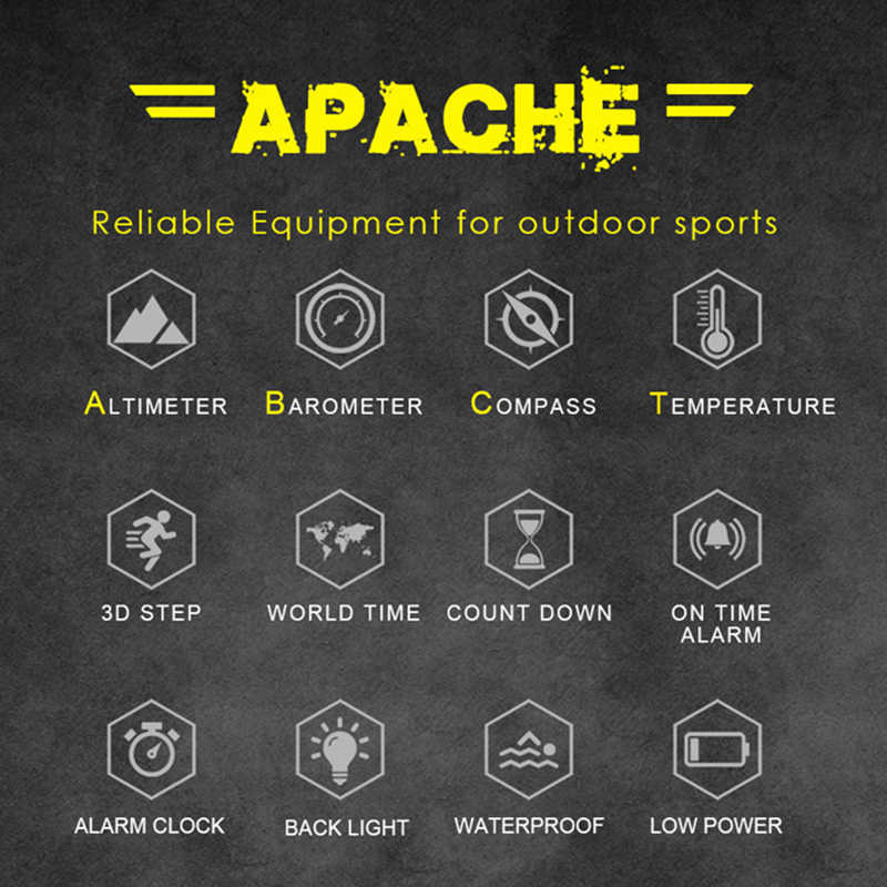 北エッジ男性スポーツウォッチ高度計バロメーターコンパス温度計歩数計世界時間デジタルクライミングランニング腕時計