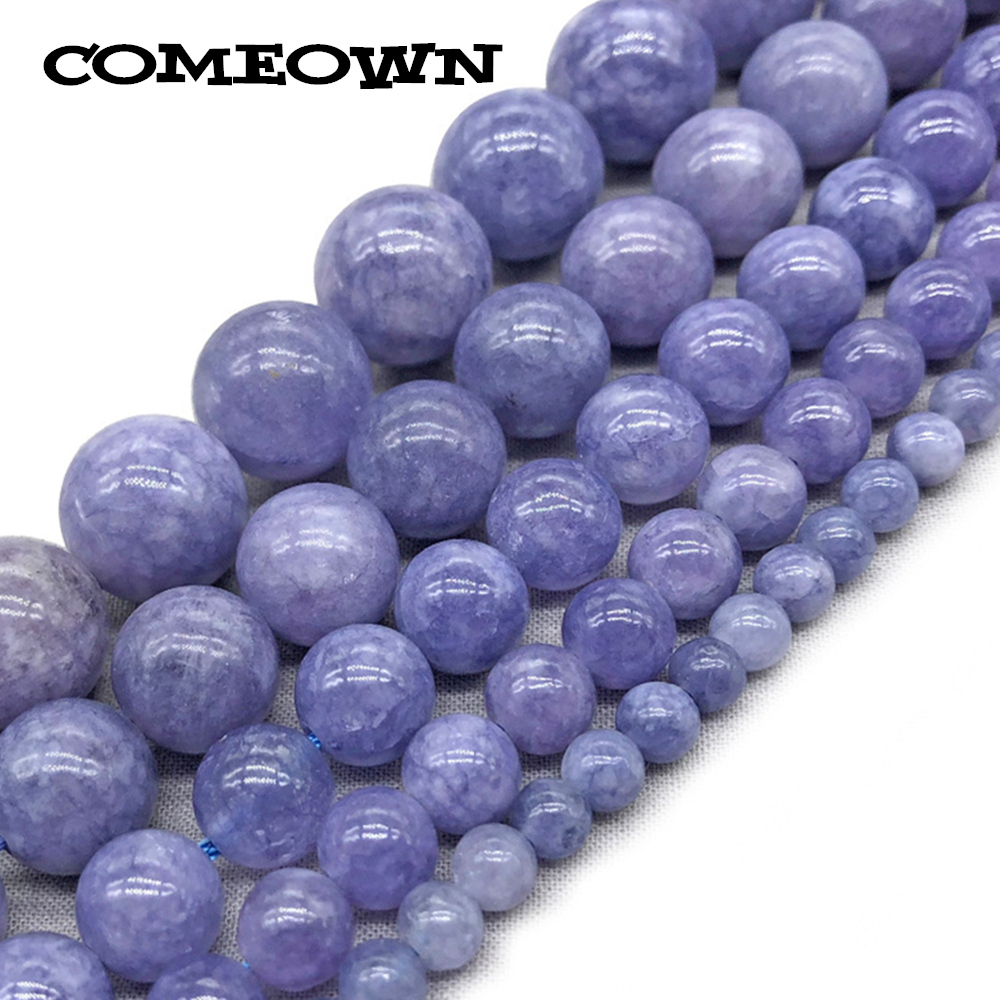 1Strand 4/6/8/10/12mm Natural Stone Beads Round Violet Chalcedony Jades Loose Stone Beads for Jewelry Making DIY Accessories
