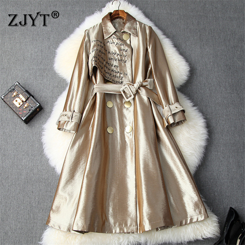 Fashion Runway Trench Coat Women 2019 Autumn Winter Double Breasted Letters Embroidery Aline Long Trench Windbreaker Outerwear