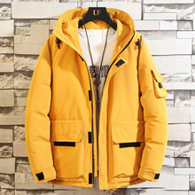 Mens Winter Coats and Jackets Hooded Cotton Padded Parkas Solid Down Jacket Men Casual Multi-pocket Coat Streetwear Men Parka цены онлайн