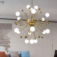 현대 디자인 북유럽 유리 공 민들레 샹들리에 LED 금속 크리 에이 티브 거실 침실 식당 조명기구 장식 홈