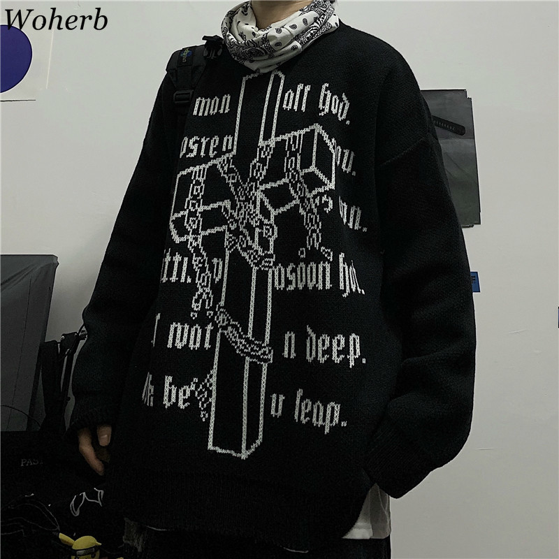 Woherb Harajuku BF Loose Pullovers Letter Pattern O Neck Long Sleeve Sweater Women Casual Vintage Tops Jumpers Korean New 91310