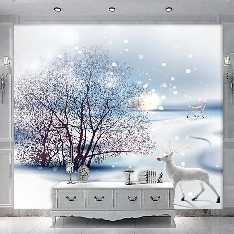 Custom Photo Wallpaper 3D Fantasy Snowscape Sunset Animal Wallpaper Kid s Bedroom Living Room TV Romantic