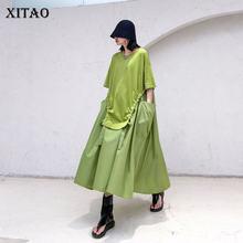 XITAO francuski styl Vintage Plus rozmiar sukienka kobiety Trend Splice długie sukienki Trend dzikie ponadgabarytowych kobiet ubrania 2020 DMY4245